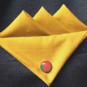 Yellow/Gold Three Point Pocket Hankie with Red and Green Trojan Pin